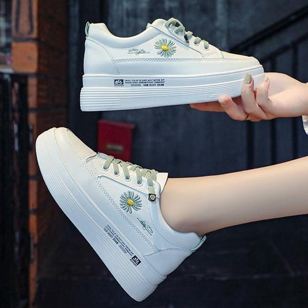 小白鞋女新款夏季薄款內增高厚底爆款老爹白鞋學生百搭板鞋女 【全館免運】