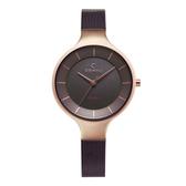 OBAKU 精美女性太陽能腕錶-棕色X玫瑰金
