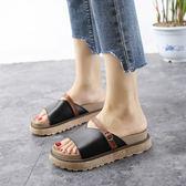 黑色/38碼 韓版拖鞋 一字拖鞋 厚底鬆糕涼鞋