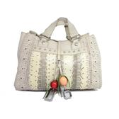 【特價27%OFF】D&G 米白色牛皮蟒蛇皮水果吊飾磁扣手提包 【二手名牌 BRAND OFF】