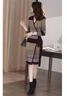 長袖針織洋裝 撞色針織連身裙女V領長袖修身顯瘦中長a字裙子S108-B1皇朝天下