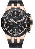 EDOX 依度 Delfin 專業200米防水E10109.357RNCA.NIRG計時碼錶黑/玫瑰金框43mm