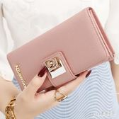 女士錢包 女長款日韓拉鏈小清新簡約搭扣學生錢夾皮夾 aj11496『pink領袖衣社』