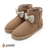 Paidal 古典針織蝴蝶結內鋪毛短筒雪靴-咖