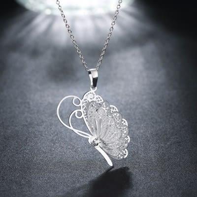 項鍊 925純銀 鑲鑽墜子-優雅蝴蝶生日情人節禮物女飾品73ch119【時尚巴黎】