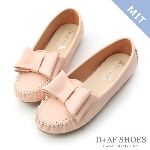豆豆鞋 D+AF 俏皮可愛.MIT大蝴蝶結莫卡辛豆豆鞋*粉