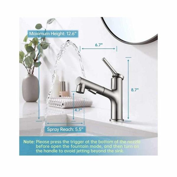 ARRISEA 拉出式水龍頭 3種水流 上噴式 Bathroom Faucet with Pull Out Sprayer [2美國直購]
