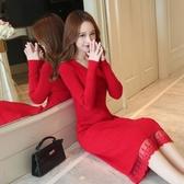 蕾絲拼接毛衣裙秋冬大碼毛衣過膝拼接蕾絲針織連身裙內搭配大衣風衣的打底長裙子 春季特賣