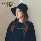 Queen Shop【07020573】基本百搭黑色燈芯絨大帽沿造型帽*現+預*