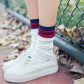 售完即止-堆堆襪女韓國春秋薄款棉質中筒襪正韓學院風日繫條紋潮流長襪11-5(庫存清出T)