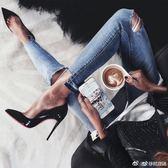 18早春黑色漆皮高跟鞋12CM細跟裸色紅色性感淺口大碼尖頭單鞋女夏   良品鋪子