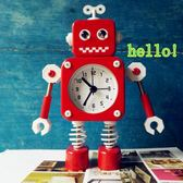 可愛卡通機器人鬧鐘 兒童臥室床頭靜音電子鐘 兒童鬧鐘 雲雨尚品