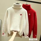 2020新款冬季寬松高領水貂絨雪尼爾圣誕節大紅色新年毛衣女士套頭 創意新品