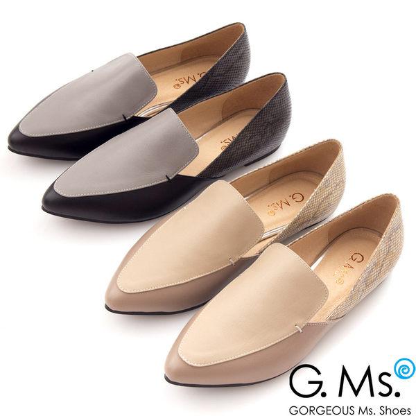 G.Ms. MIT系列-羊皮尖頭撞色拼接蛇紋樂福鞋*名品黑