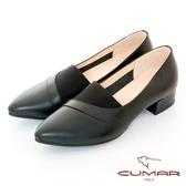 【CUMAR】極簡生活簡約尖頭鬆緊拼接粗跟鞋(黑色)