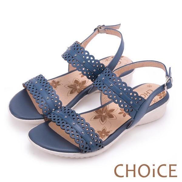 CHOiCE 異國渡假風 簍空造型牛皮踝帶涼鞋-藍色