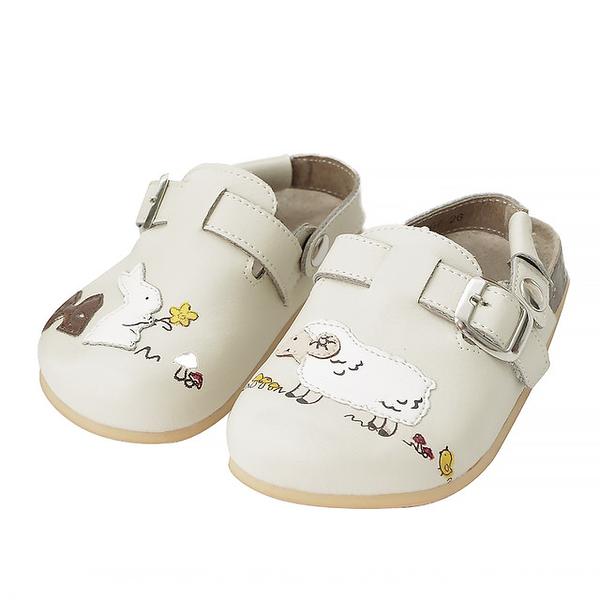 【Jingle】兔兔農場前包後空軟木休閒鞋(百搭米甜美粉兒童款)