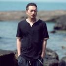 中國風男裝仿棉麻T恤冬季寬鬆短袖大碼T恤薄款中式復古仿亞麻體恤 美芭