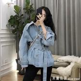 牛仔外套女寬鬆韓版2019新款復古港味早秋初氣質腰帶百搭顯瘦上衣