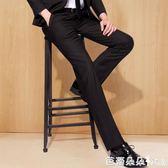 西裝褲 夏季修身西褲男士商務正裝職業寬鬆直筒休閒西裝褲黑色西服褲子薄 『快速出貨』