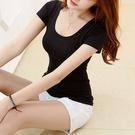 現貨 新款夏裝U領短袖T恤 大碼女裝簡約修身白色性感低領露背小衫
