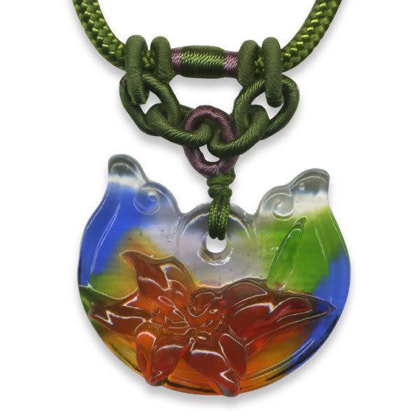 鹿港窯~居家開運水晶琉璃項鍊~百合 附精美包裝◆免運費送到家◆