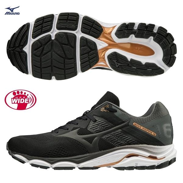 MIZUNO WAVE INSPIRE 16 男鞋 慢跑 路跑 4E 超寬楦 支撐 耐磨 避震 黑【運動世界】J1GC204509