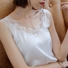緞面上衣 蕾絲V領吊帶背心女打底衫絲綢緞面內搭黑純色性感外穿上衣夏-Ballet朵朵
