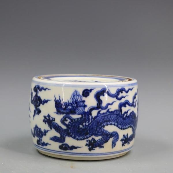 明宣德青花龍鳳紋天子罐手繪仿古老貨瓷器家居裝飾古董古玩擺件1入