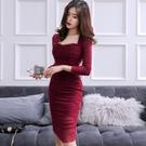 2019秋名媛氣質小性感修身顯瘦抹胸褶皺洋裝女長袖包臀裙禮服裙 設計師