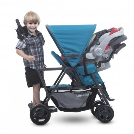 【贈第二座椅】Joovy Caboose Ultralight Graphite 新款輕量級雙人推車(紅)+專用雨罩