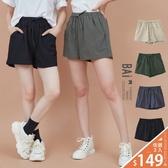 短褲 純色不規則壓紋綁帶鬆緊棉麻短褲S-L號-BAi白媽媽【305289】