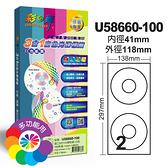 彩之舞 進口3合1白色光碟標籤 (CDB) 大孔 內徑41mm 100張入 / 盒 U58660-100