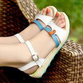 仙女風女孩初中學生12平底大童防滑15歲韓版涼鞋軟底 三角衣櫃