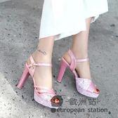 涼鞋/夏季新款高跟歐美時尚粗跟防水台搭扣女鞋百搭女士工作鞋「歐洲站」