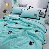 韓式可水洗毛巾繡夏涼被(含枕套)-藍色小貓