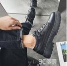 夏季皮鞋男厚底韓版潮流大頭鞋男青少年英倫百搭黑色增高小皮鞋男 3C優購
