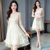 短袖洋裝 女2020新款韓版修身時尚v領氣質顯瘦收腰大碼蕾絲a字裙連身裙 JX1847『優童屋』