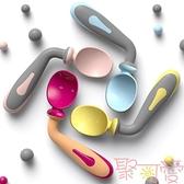 嬰兒餐具套裝訓練勺叉子筷子兒童輔食碗彎頭軟勺【聚可愛】