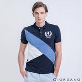 【GIORDANO】男裝-拿破崙刺繡拼色修身POLO衫 -12 海軍藍/白色