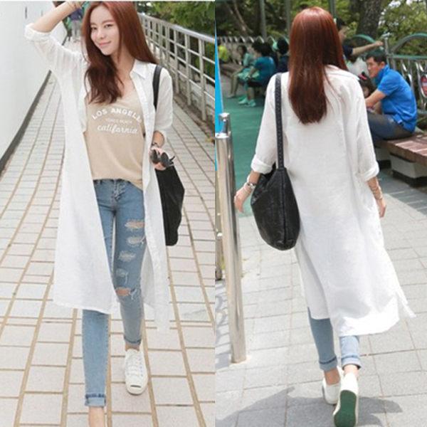 【GZ3E1】長版襯衫 長袖襯衫 雪紡衫 防曬衣 韓版白色襯衣 薄外套上衣