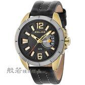 POLICE 自信風範時尚皮革手錶/黑X金