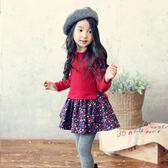黑五好物節 女童長袖連身裙秋冬新款兒童碎花拼接假兩件韓國潮 東京衣櫃