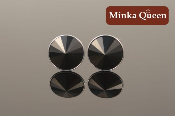 德國鈦鋼黑色慧心石抗敏耳環(一對)(6 mm)