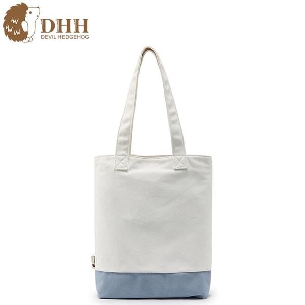 DHH日繫韓版文藝小清新白色帆布包女單肩包韓國學生簡約搭手提袋 阿卡娜