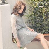 東京著衣【YOCO】夏日輕甜碎花拼接蕾絲抽繩洋裝-S.M.L(180541)