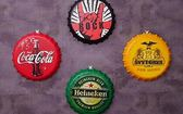 創意啤酒蓋裝飾工業風酒吧裝飾網吧壁飾品墻面掛件復古懷舊鐵皮畫        瑪奇哈朵