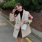 秋冬2019新款學院風加厚洋氣西裝大衣寬鬆減齡長袖毛呢外套女