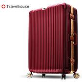 Travelhouse 爵世風華 29吋PC鋁框鏡面行李箱(暗紅金)