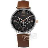 TIMEX 天美時 / TXTW2T35000 / 羅馬刻度 三眼設計 礦石強化玻璃 日期 星期視窗 真皮手錶 黑x咖啡 41mm